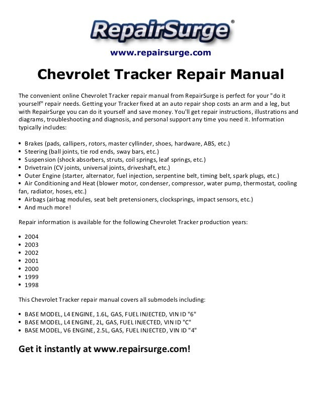 2002 chevy tracker parts manual