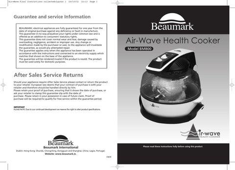 beaumark air wave health cooker manual