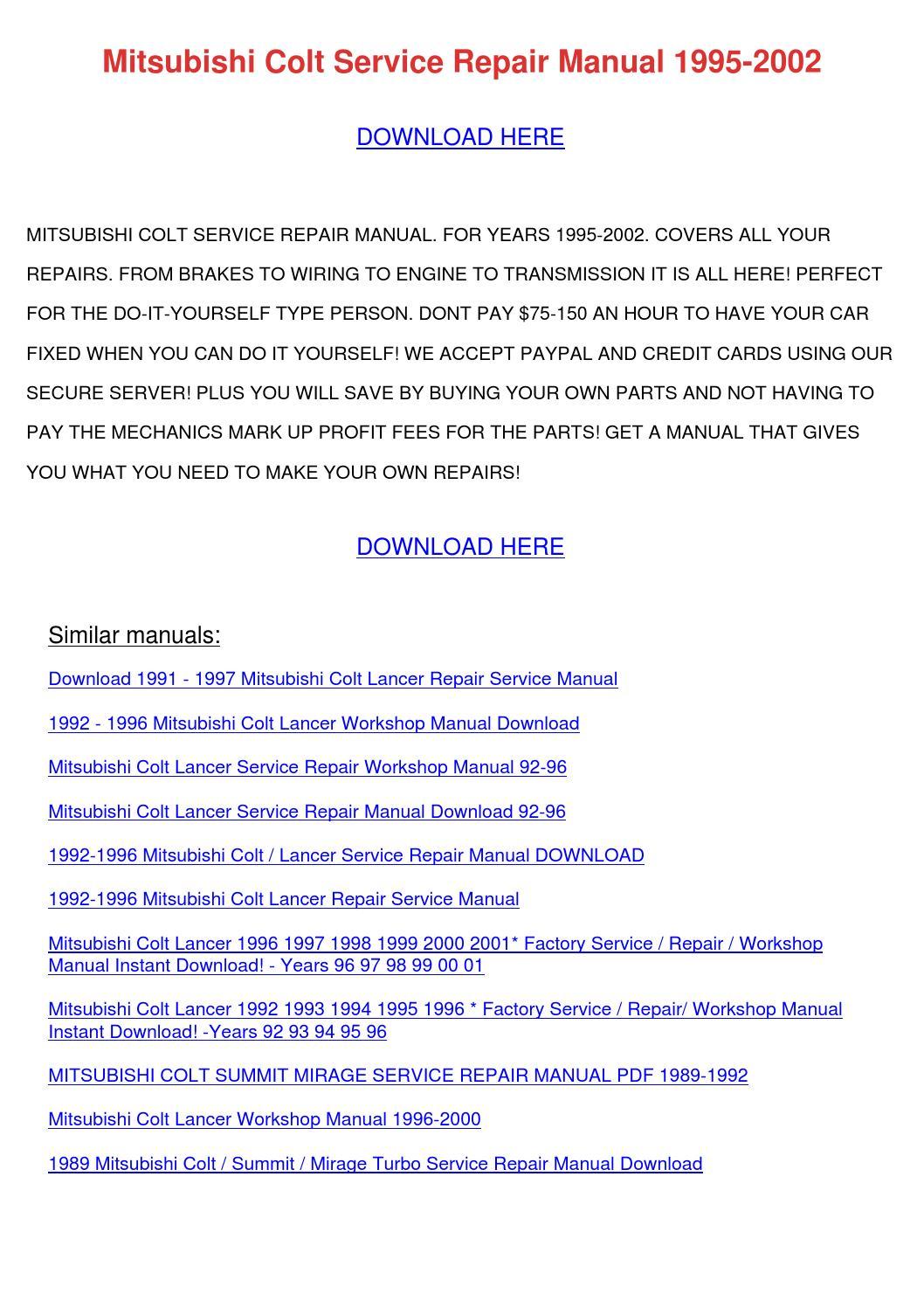 mitsubishi colt service manual download