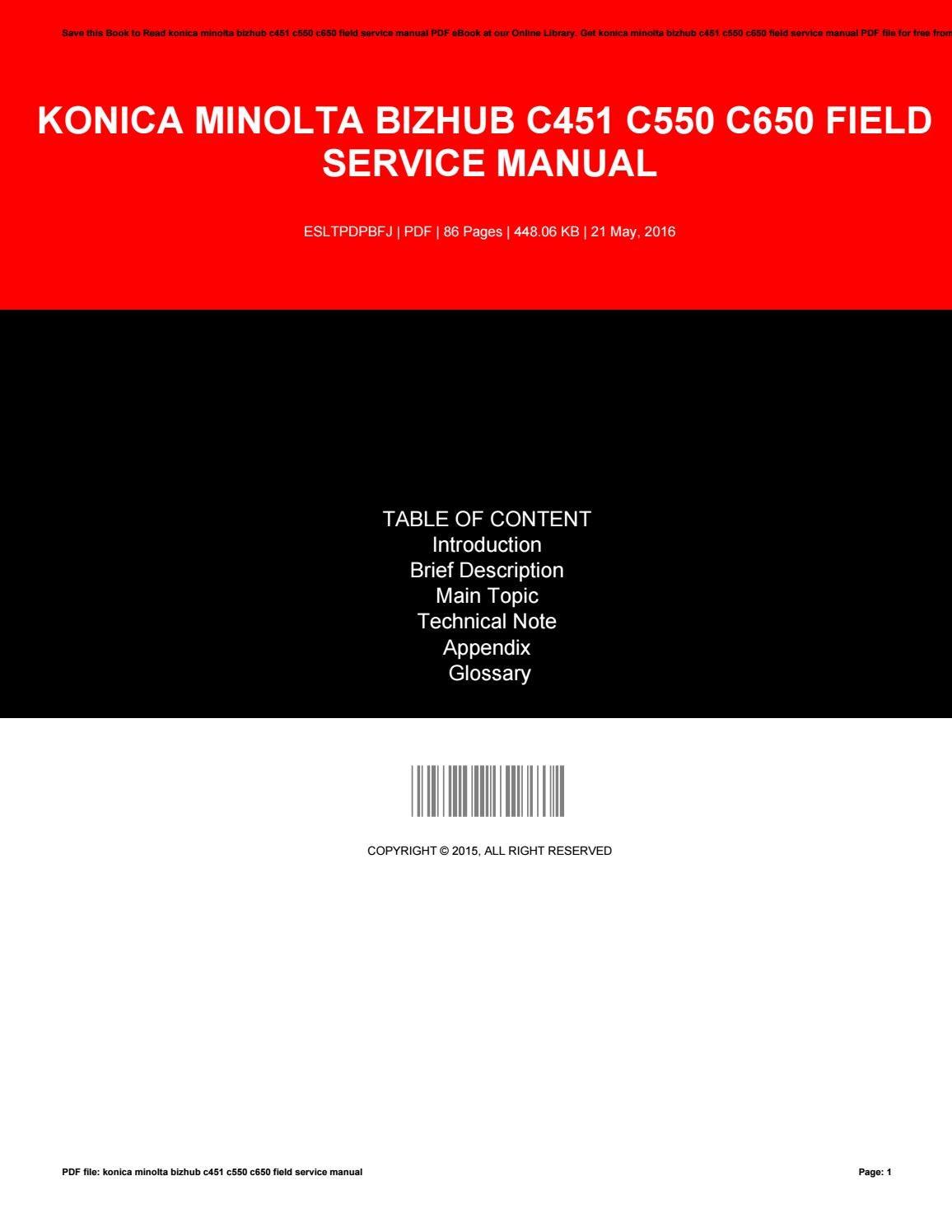 bizhub c25 field service manual