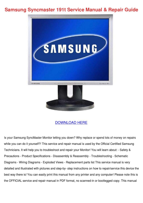 samsung syncmaster 191t service manual