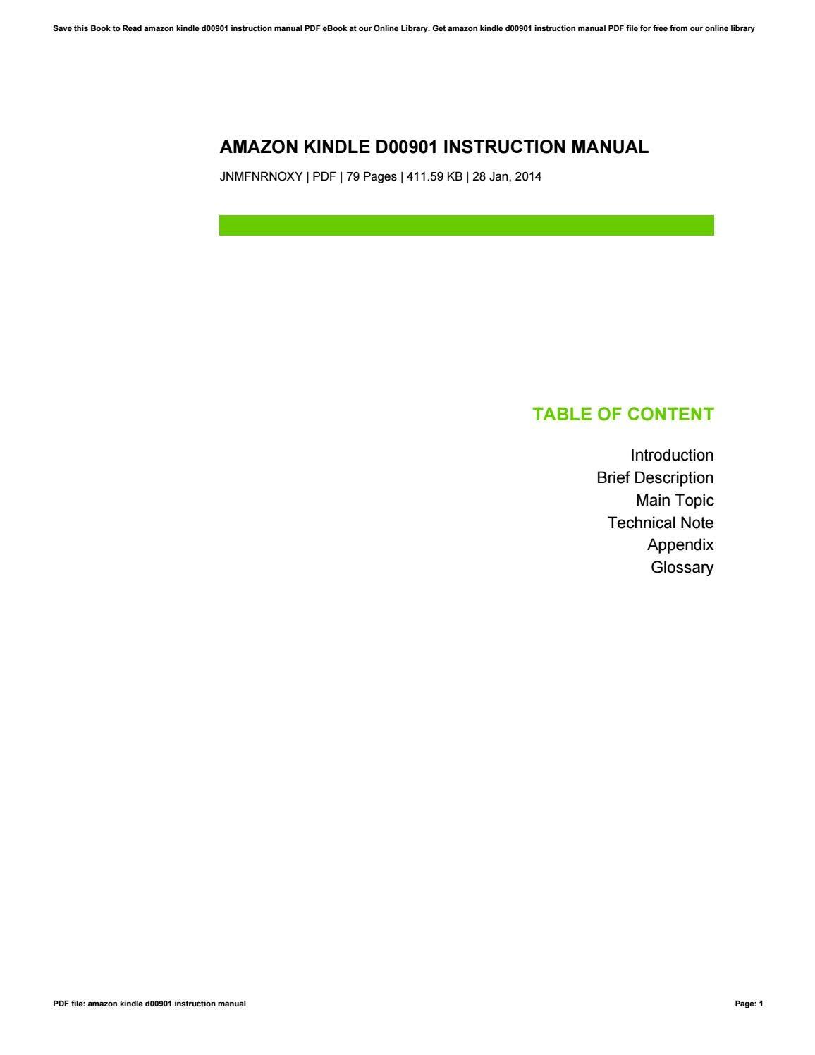 amazon kindle d00901 manual pdf