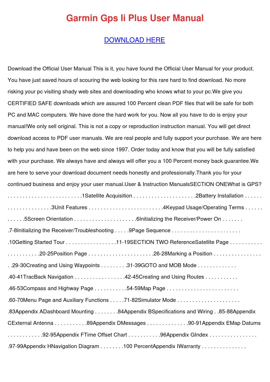 garmin gps ii plus manual pdf