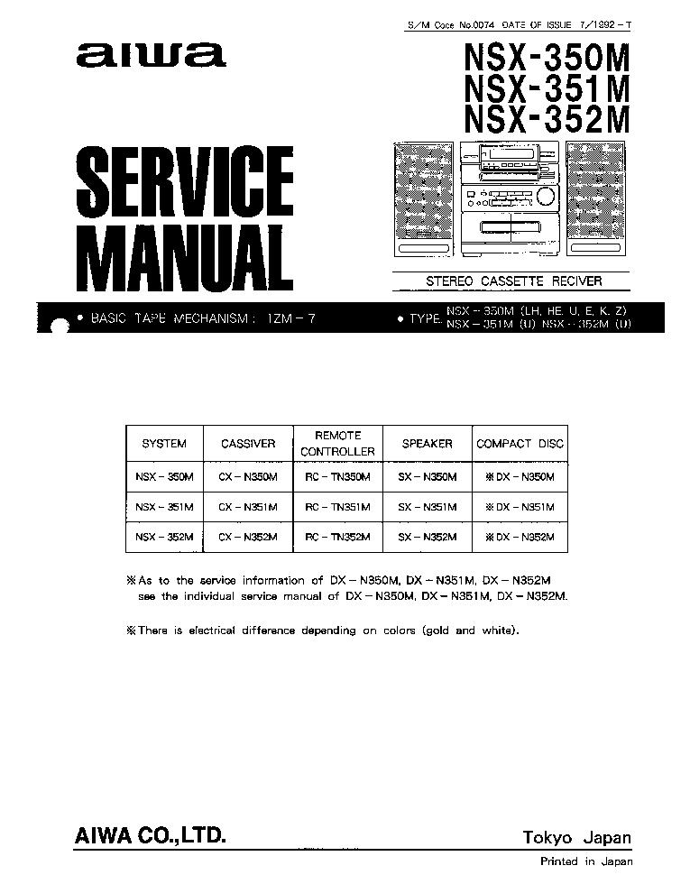 aiwa nsx 350m user manual