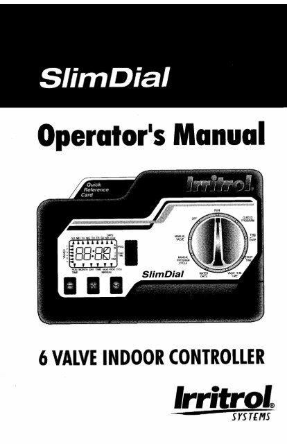 irritrol slim dial instruction manual