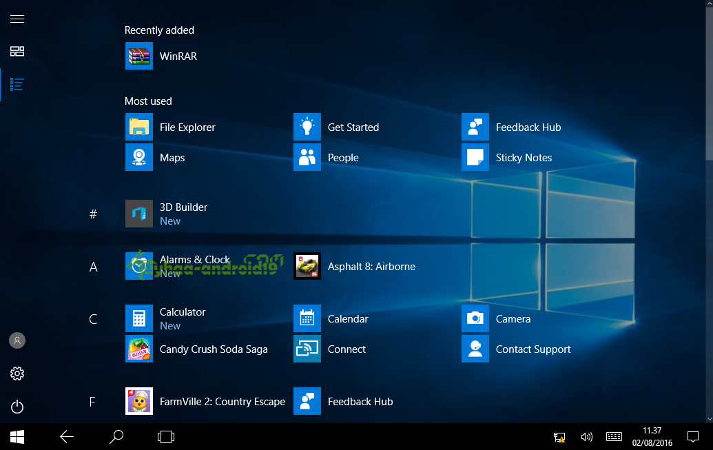 manual installation windows 10 update 1607