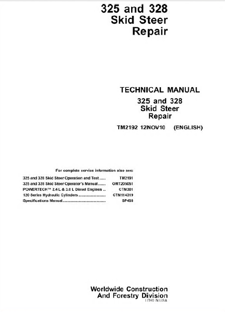 john deere 125 skid steer repair manual