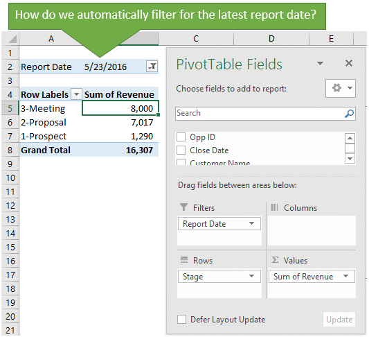excel vba pivot tables manual filter