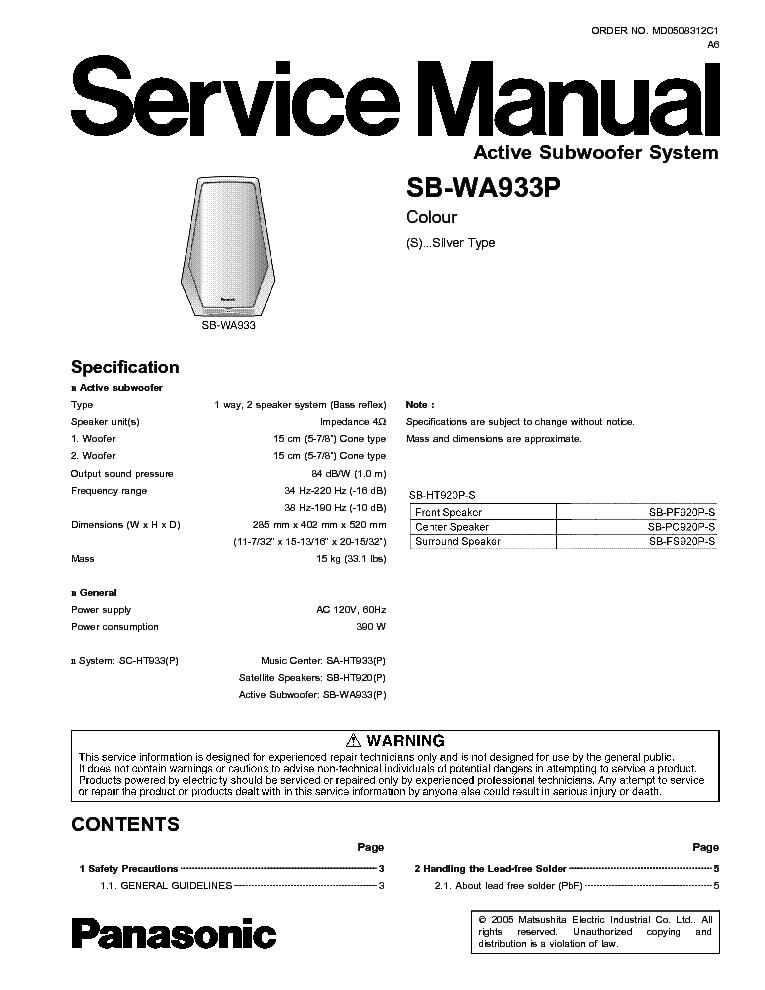 panasonic sa-ak 250 service manual