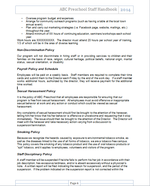 policy on manual handling in childcare ceterns