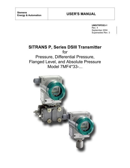 siemens sitrans p ds iii differential pressure transmitter manual