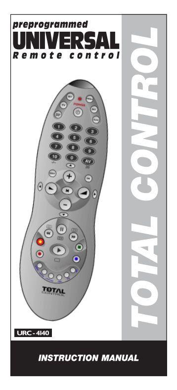 total control 1 tv remote user manual